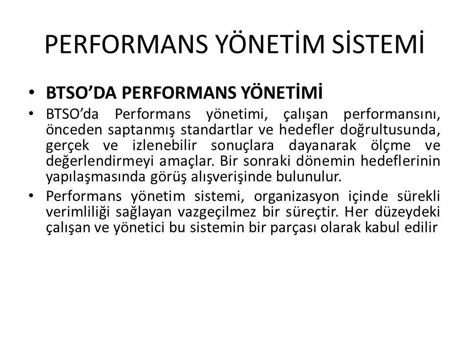 PERFORMANS YÖNETİM SİSTEMİ • BTSO'DA PERFORMANS YÖNETİMİ • BTSO'da Performans yönetimi, çalışan performansını, önceden saptanmış standartlar ve hedefl