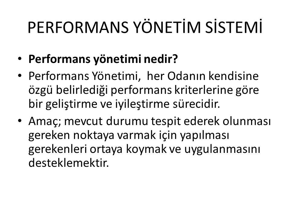 PERFORMANS YÖNETİM SİSTEMİ • Performans yönetimi nedir? • Performans Yönetimi, her Odanın kendisine özgü belirlediği performans kriterlerine göre bir