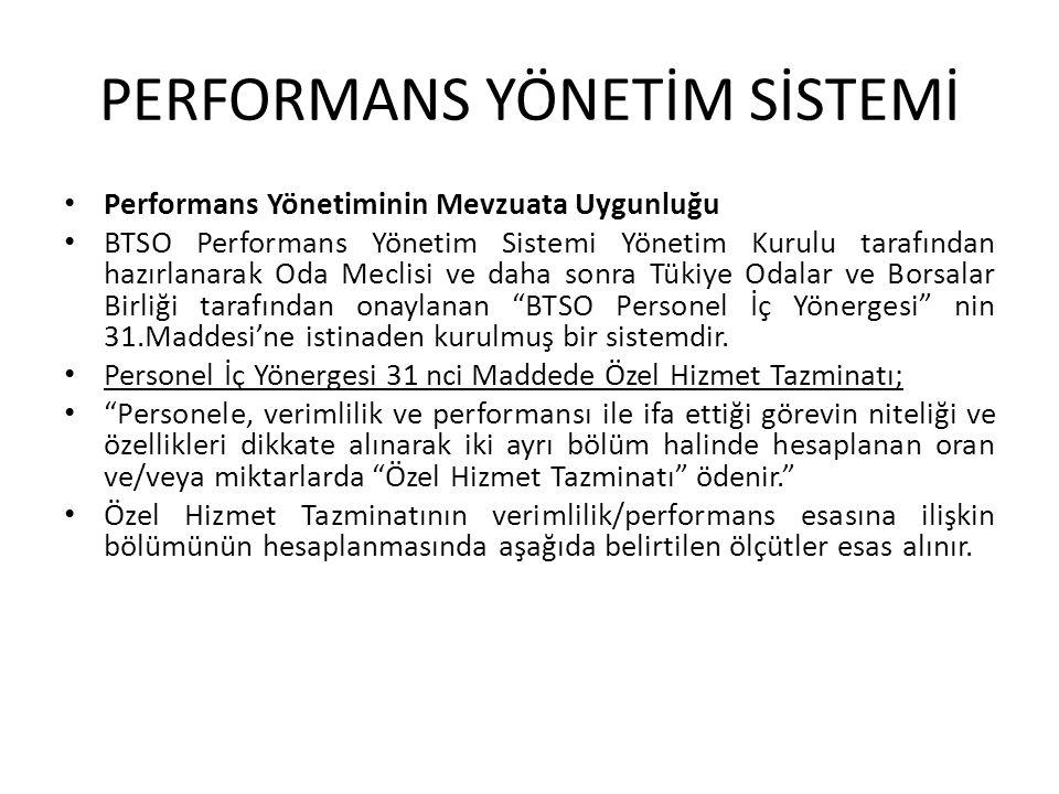 • Performans Yönetiminin Mevzuata Uygunluğu • BTSO Performans Yönetim Sistemi Yönetim Kurulu tarafından hazırlanarak Oda Meclisi ve daha sonra Tükiye
