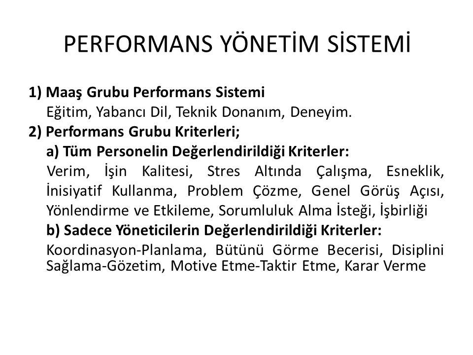 1) Maaş Grubu Performans Sistemi Eğitim, Yabancı Dil, Teknik Donanım, Deneyim. 2) Performans Grubu Kriterleri; a) Tüm Personelin Değerlendirildiği Kri