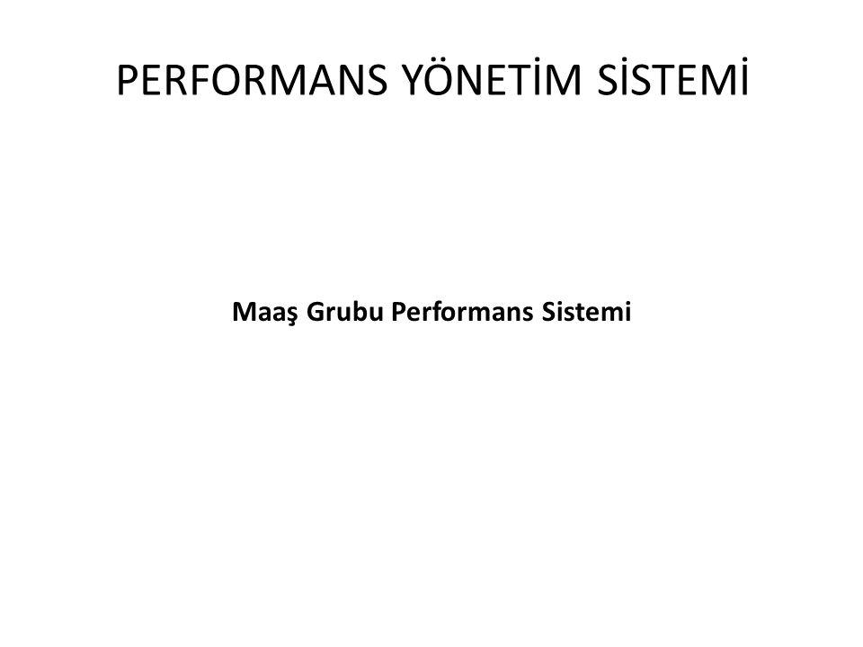PERFORMANS YÖNETİM SİSTEMİ Maaş Grubu Performans Sistemi