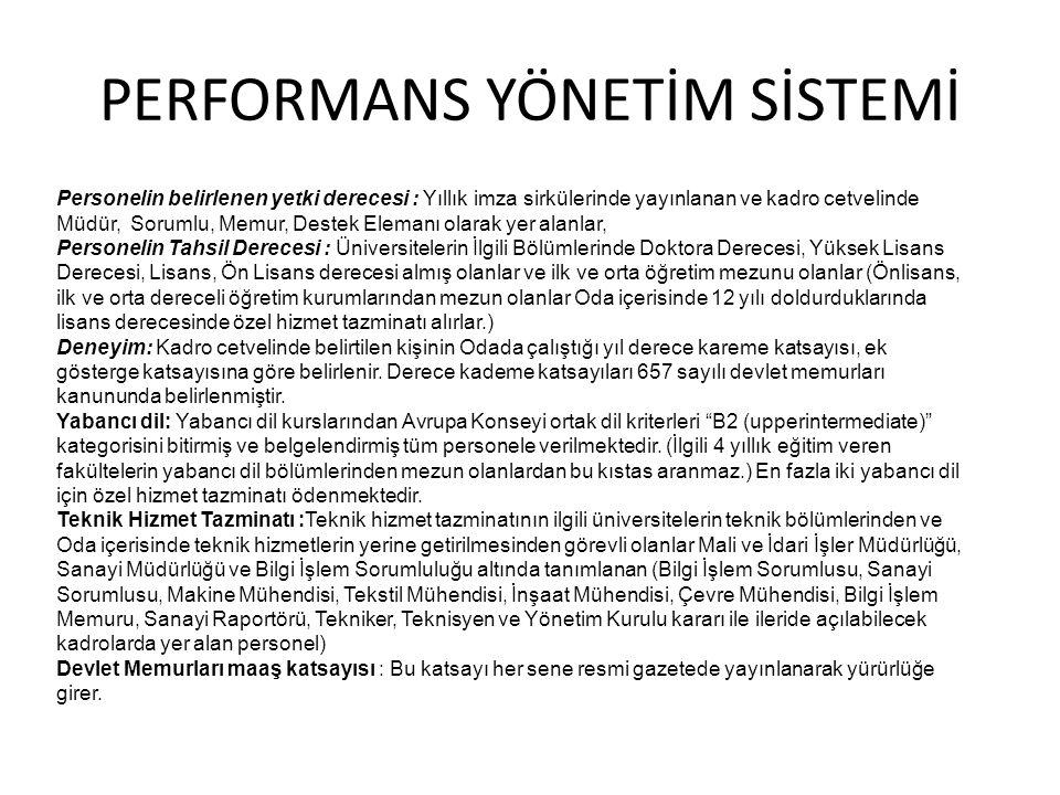 PERFORMANS YÖNETİM SİSTEMİ Personelin belirlenen yetki derecesi : Yıllık imza sirkülerinde yayınlanan ve kadro cetvelinde Müdür, Sorumlu, Memur, Deste
