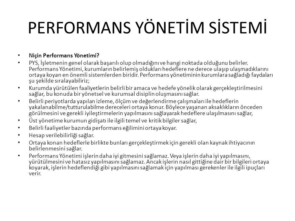 PERFORMANS YÖNETİM SİSTEMİ • Niçin Performans Yönetimi? • PYS, İşletmenin genel olarak başarılı olup olmadığını ve hangi noktada olduğunu belirler. Pe