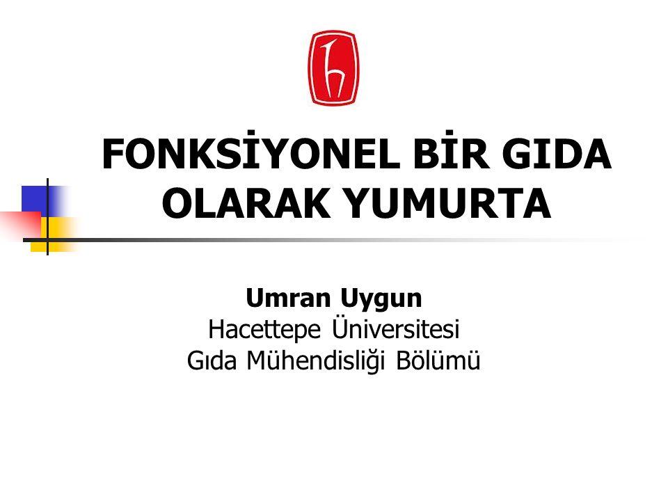 FONKSİYONEL BİR GIDA OLARAK YUMURTA Umran Uygun Hacettepe Üniversitesi Gıda Mühendisliği Bölümü