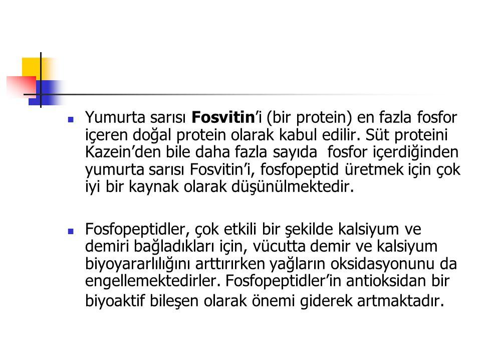 Yumurta sarısı Fosvitin'i (bir protein) en fazla fosfor içeren doğal protein olarak kabul edilir. Süt proteini Kazein'den bile daha fazla sayıda fos