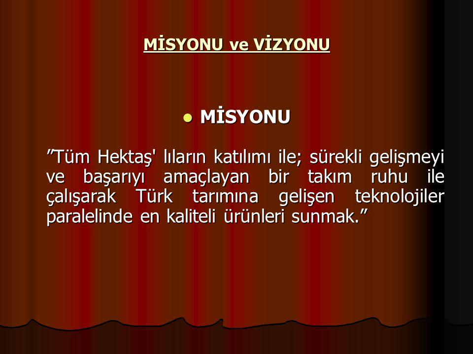 """ MİSYONU """"Tüm Hektaş' lıların katılımı ile; sürekli gelişmeyi ve başarıyı amaçlayan bir takım ruhu ile çalışarak Türk tarımına gelişen teknolojiler p"""
