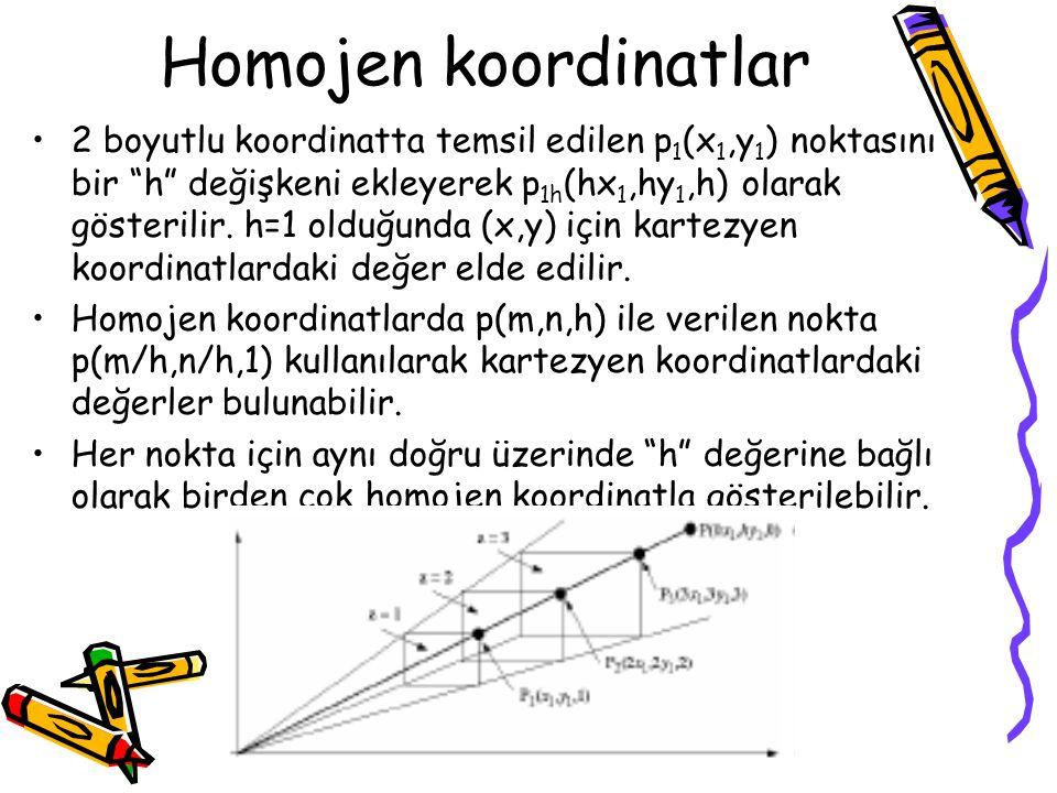 """Homojen koordinatlar •2 boyutlu koordinatta temsil edilen p 1 (x 1,y 1 ) noktasını bir """"h"""" değişkeni ekleyerek p 1h (hx 1,hy 1,h) olarak gösterilir. h"""