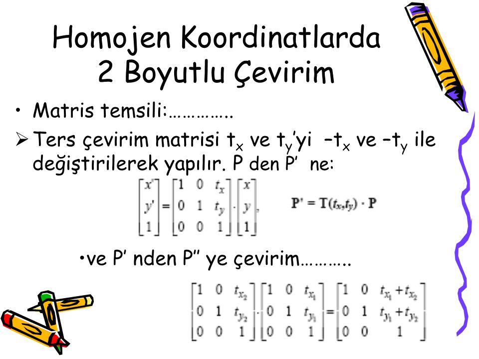 Homojen Koordinatlarda 2 Boyutlu Çevirim •Matris temsili:…………..  Ters çevirim matrisi t x ve t y 'yi –t x ve –t y ile değiştirilerek yapılır. P den P
