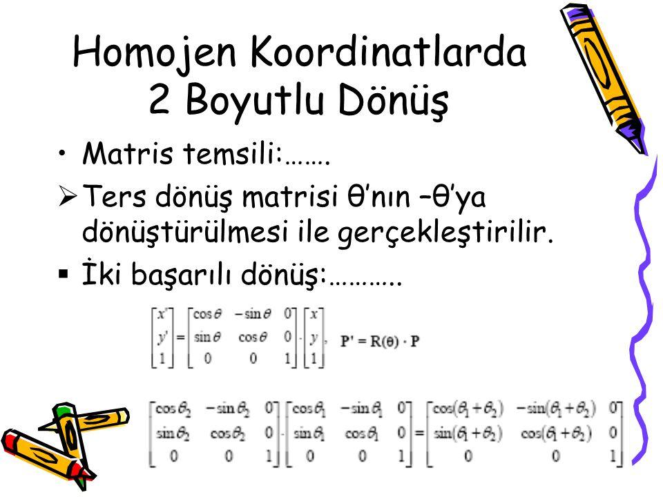 Homojen Koordinatlarda 2 Boyutlu Dönüş •Matris temsili:…….  Ters dönüş matrisi θ'nın –θ'ya dönüştürülmesi ile gerçekleştirilir.  İki başarılı dönüş: