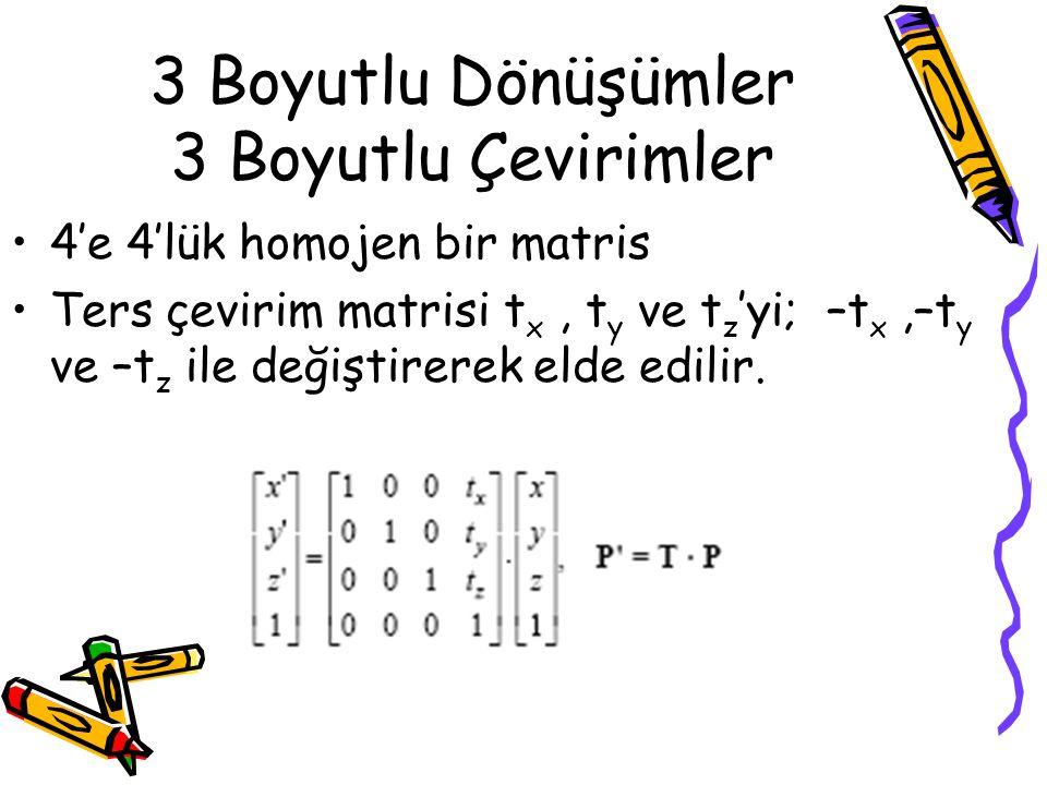 3 Boyutlu Dönüşümler 3 Boyutlu Çevirimler •4'e 4'lük homojen bir matris •Ters çevirim matrisi t x, t y ve t z 'yi; –t x,–t y ve –t z ile değiştirerek