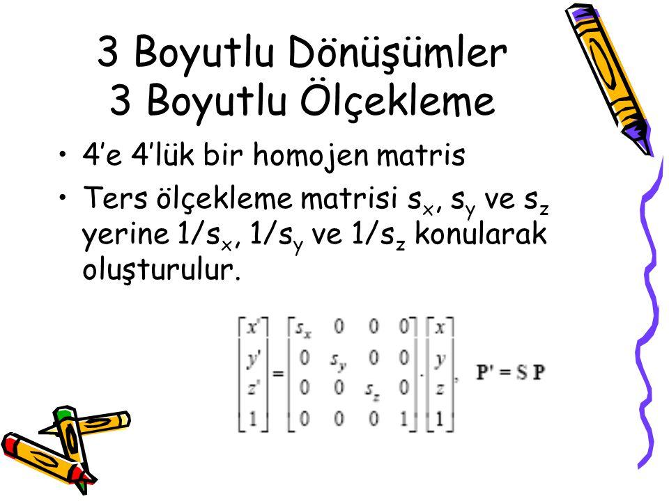 3 Boyutlu Dönüşümler 3 Boyutlu Ölçekleme •4'e 4'lük bir homojen matris •Ters ölçekleme matrisi s x, s y ve s z yerine 1/s x, 1/s y ve 1/s z konularak