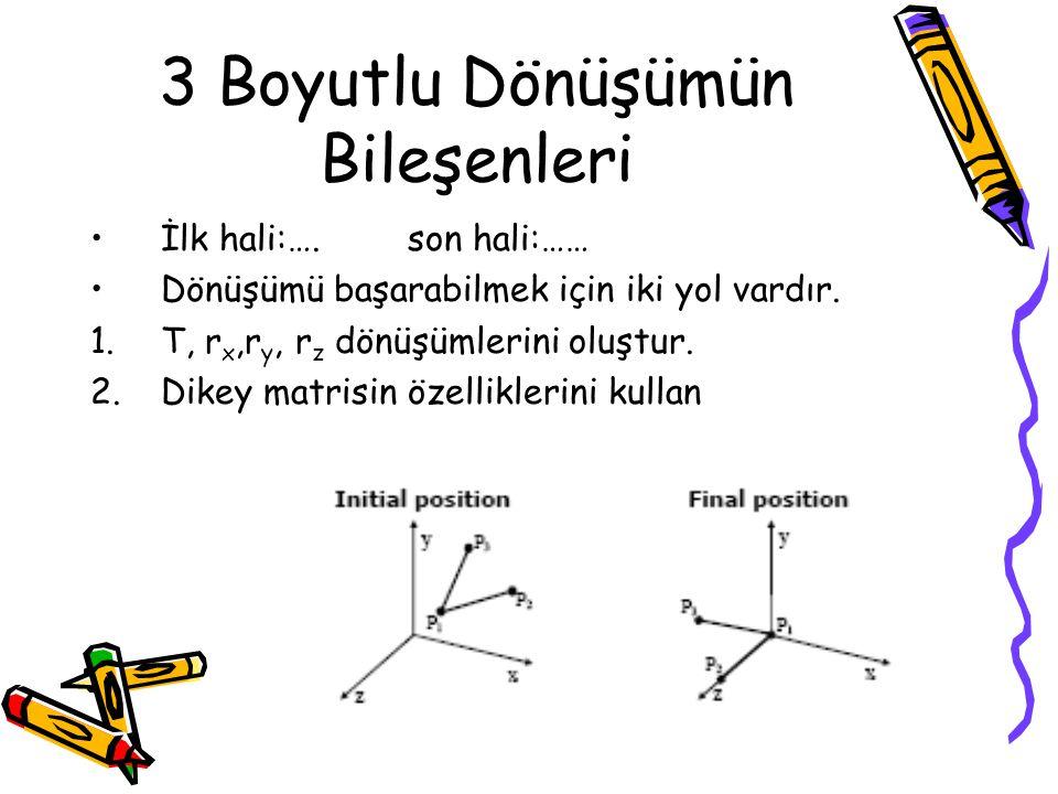 3 Boyutlu Dönüşümün Bileşenleri •İlk hali:….son hali:…… •Dönüşümü başarabilmek için iki yol vardır. 1.T, r x,r y, r z dönüşümlerini oluştur. 2.Dikey m