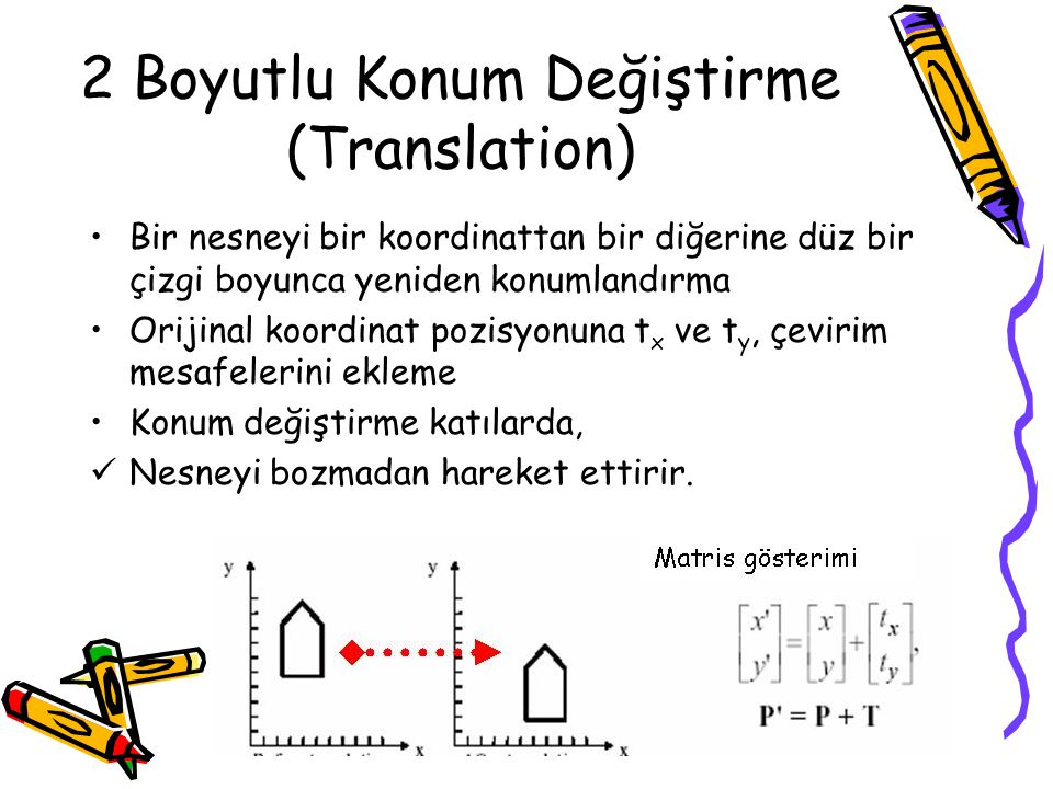 2 Boyutlu Konum Değiştirme (Translation) •Bir nesneyi bir koordinattan bir diğerine düz bir çizgi boyunca yeniden konumlandırma •Orijinal koordinat po