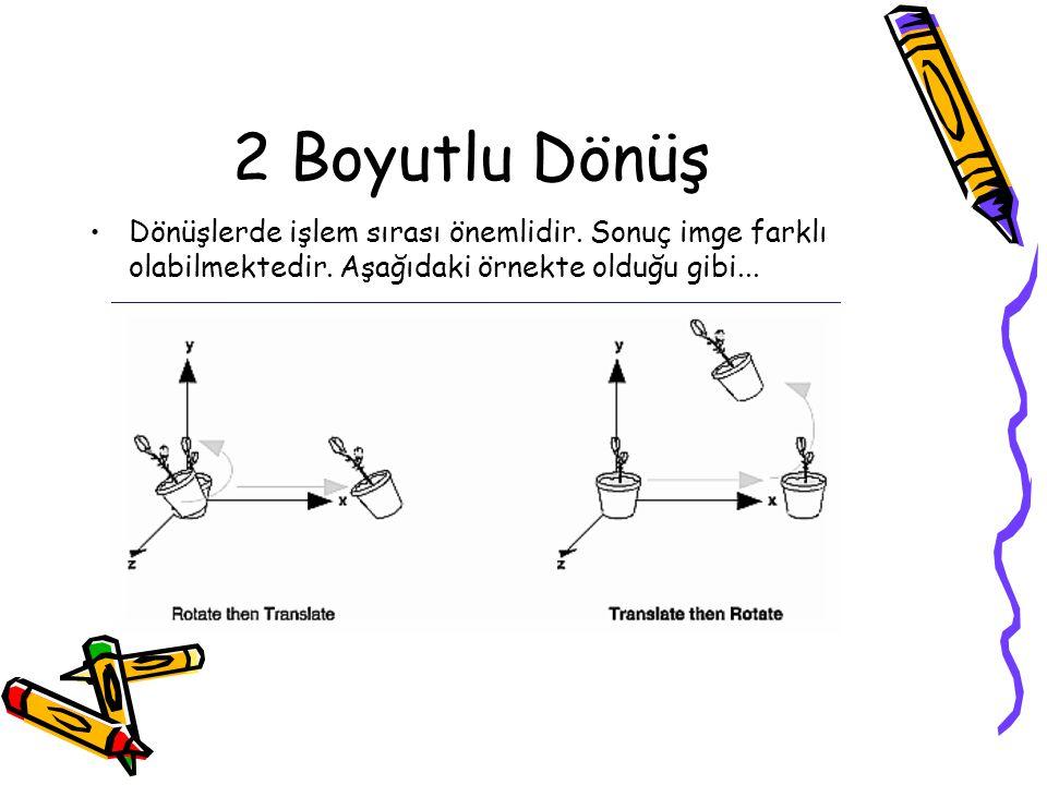 2 Boyutlu Dönüş •Dönüşlerde işlem sırası önemlidir. Sonuç imge farklı olabilmektedir. Aşağıdaki örnekte olduğu gibi...