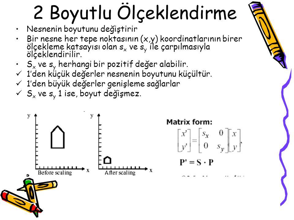2 Boyutlu Ölçeklendirme •Nesnenin boyutunu değiştirir •Bir nesne her tepe noktasının (x,y) koordinatlarının birer ölçekleme katsayısı olan s x ve s y