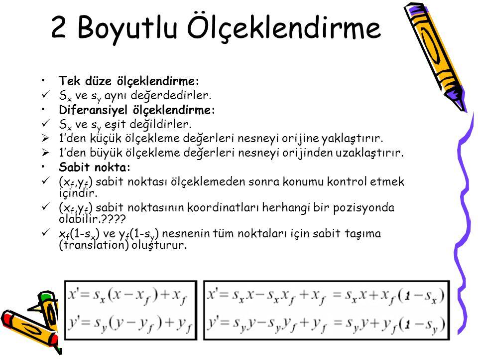 2 Boyutlu Ölçeklendirme •Tek düze ölçeklendirme:  S x ve s y aynı değerdedirler. •Diferansiyel ölçeklendirme:  S x ve s y eşit değildirler.  1'den