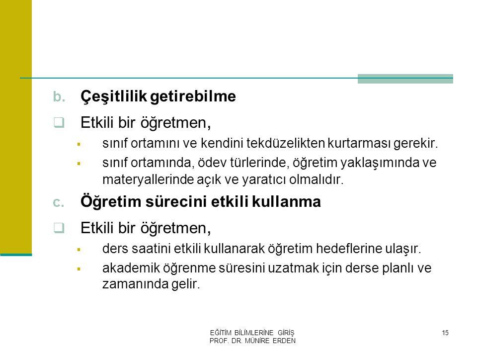 EĞİTİM BİLİMLERİNE GİRİŞ PROF.DR. MÜNİRE ERDEN 15 b.