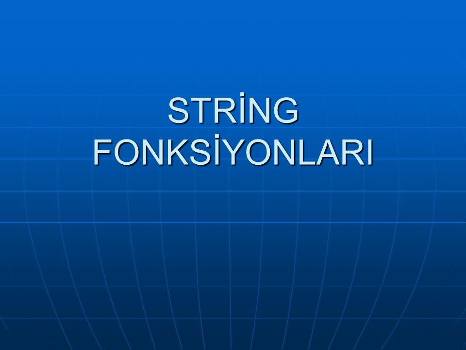  Stringler, char tipinde bildirilen karakter dizileridir ve harfler, rakamlar, veya bazı sembollerden oluşurlar.