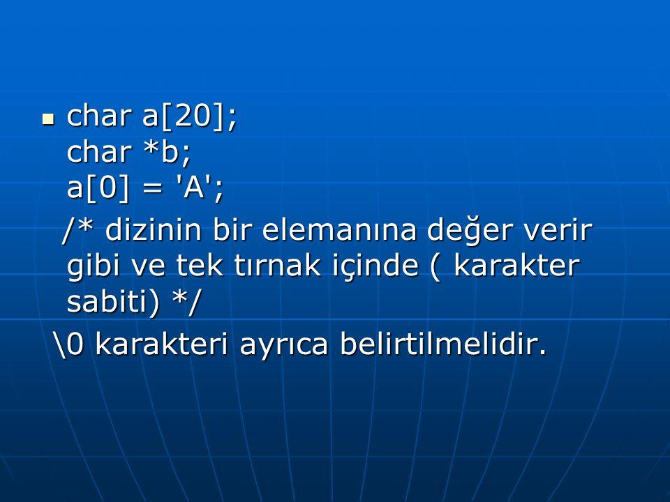  char a[20]; char *b; a[0] = 'A'; /* dizinin bir elemanına değer verir gibi ve tek tırnak içinde ( karakter sabiti) */ /* dizinin bir elemanına değer