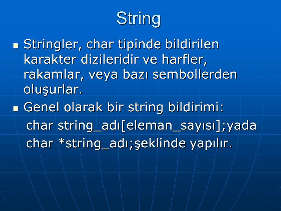  Stringler, char tipinde bildirilen karakter dizileridir ve harfler, rakamlar, veya bazı sembollerden oluşurlar.  Genel olarak bir string bildirimi: