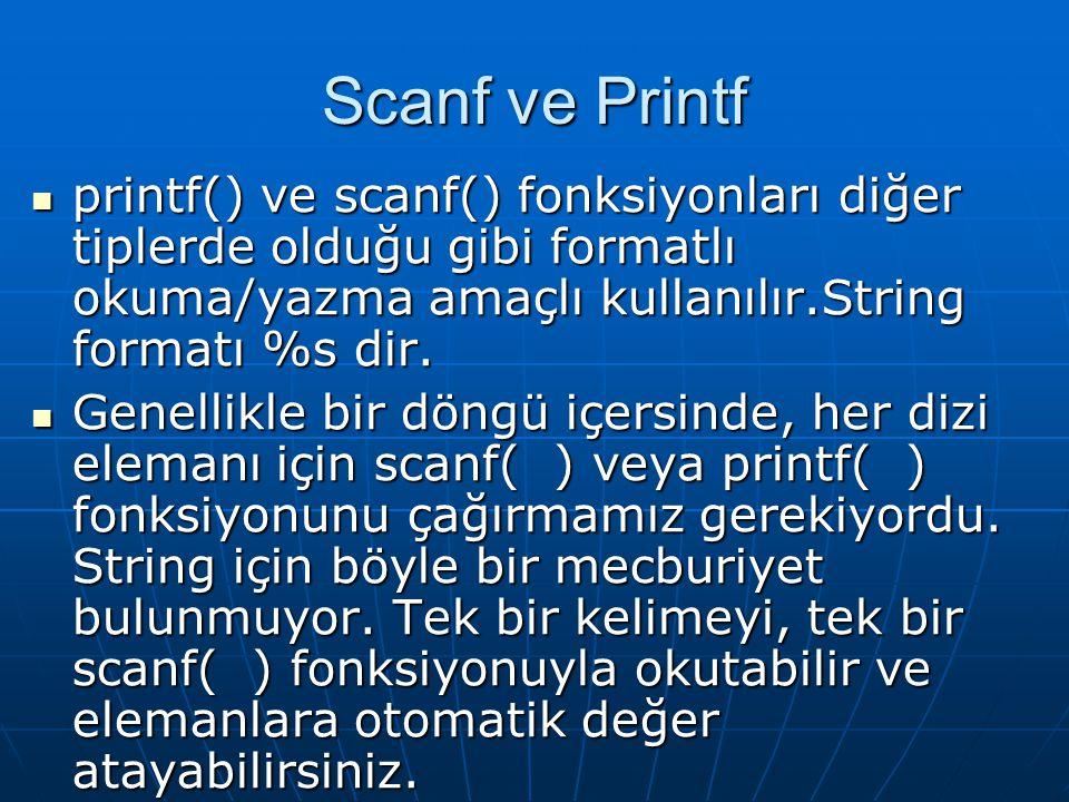  printf() ve scanf() fonksiyonları diğer tiplerde olduğu gibi formatlı okuma/yazma amaçlı kullanılır.String formatı %s dir.  Genellikle bir döngü iç
