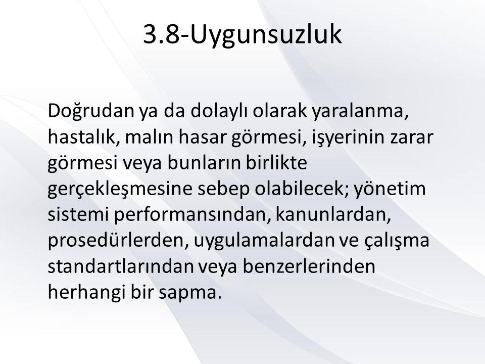 3.8-Uygunsuzluk Doğrudan ya da dolaylı olarak yaralanma, hastalık, malın hasar görmesi, işyerinin zarar görmesi veya bunların birlikte gerçekleşmesine