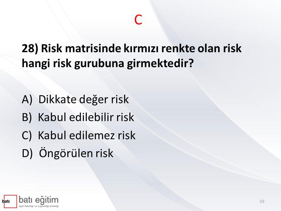 C 28) Risk matrisinde kırmızı renkte olan risk hangi risk gurubuna girmektedir? A) Dikkate değer risk B) Kabul edilebilir risk C) Kabul edilemez risk