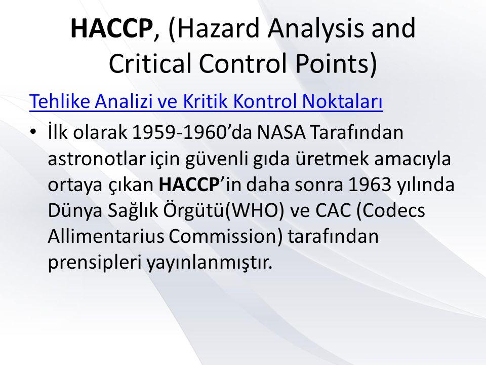 HACCP, (Hazard Analysis and Critical Control Points) Tehlike Analizi ve Kritik Kontrol Noktaları • İlk olarak 1959-1960'da NASA Tarafından astronotlar için güvenli gıda üretmek amacıyla ortaya çıkan HACCP'in daha sonra 1963 yılında Dünya Sağlık Örgütü(WHO) ve CAC (Codecs Allimentarius Commission) tarafından prensipleri yayınlanmıştır.