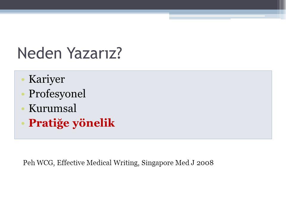 Neden Yazarız? •Kariyer •Profesyonel •Kurumsal •Pratiğe yönelik Peh WCG, Effective Medical Writing, Singapore Med J 2008
