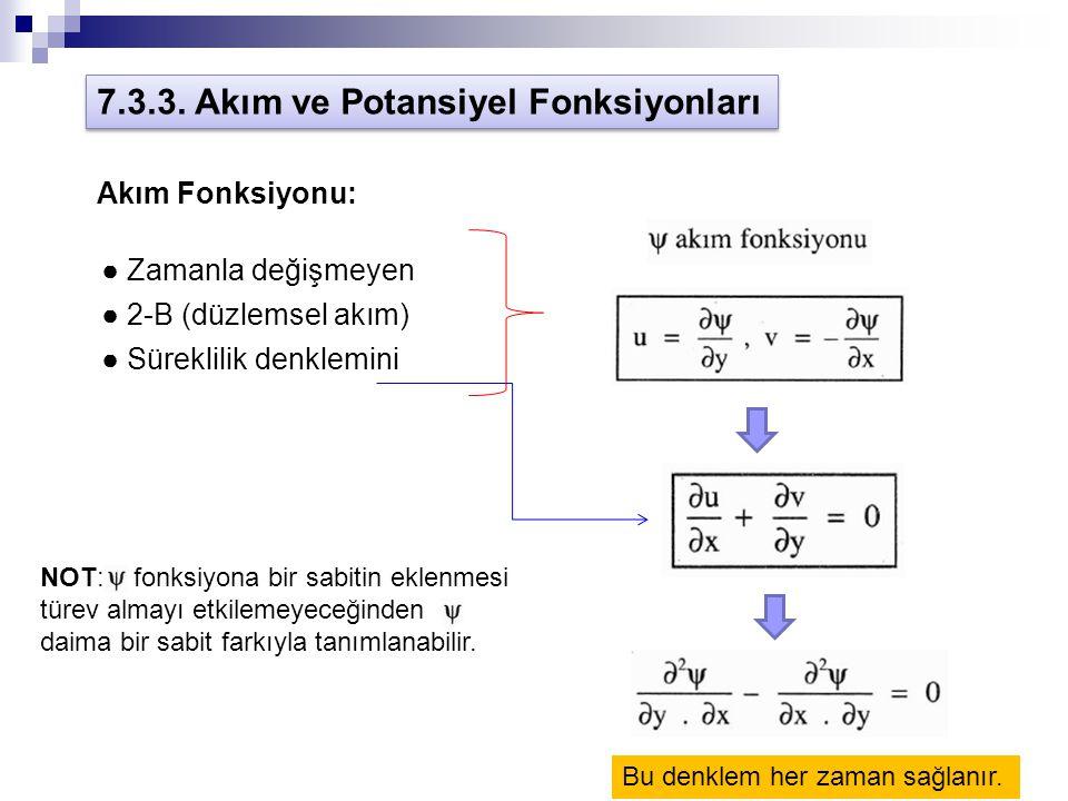 7.3.3. Akım ve Potansiyel Fonksiyonları Akım Fonksiyonu: ● Zamanla değişmeyen ● 2-B (düzlemsel akım) ● Süreklilik denklemini Bu denklem her zaman sağl