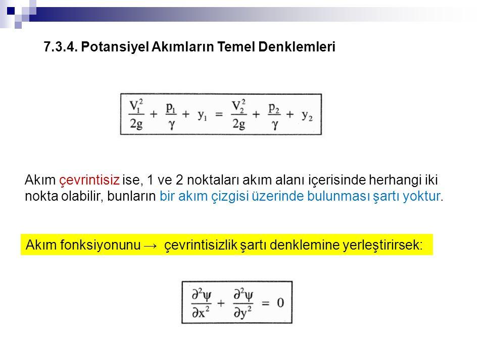 7.3.4. Potansiyel Akımların Temel Denklemleri Akım çevrintisiz ise, 1 ve 2 noktaları akım alanı içerisinde herhangi iki nokta olabilir, bunların bir a