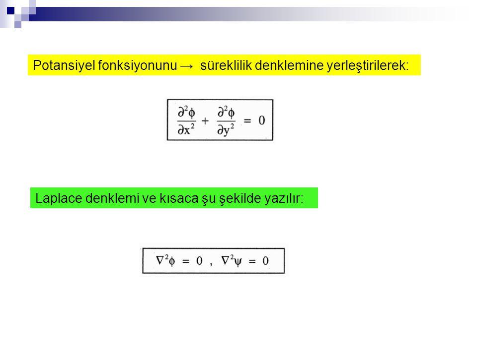 Potansiyel fonksiyonunu → süreklilik denklemine yerleştirilerek: Laplace denklemi ve kısaca şu şekilde yazılır: