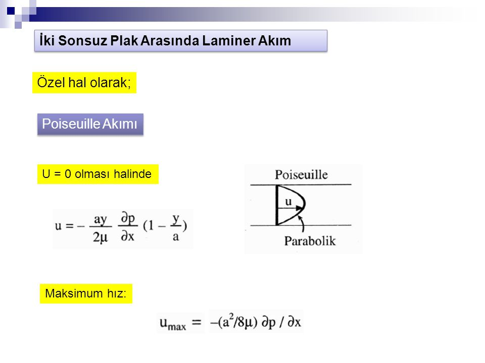 Poiseuille Akımı U = 0 olması halinde Maksimum hız: İki Sonsuz Plak Arasında Laminer Akım Özel hal olarak;