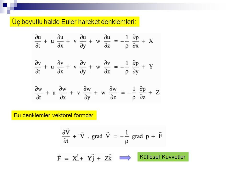 Üç boyutlu halde Euler hareket denklemleri: Bu denklemler vektörel formda: Kütlesel Kuvvetler