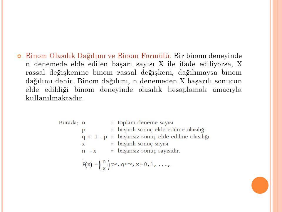 Binom Olasılık Dağılımı ve Binom Formülü: Bir binom deneyinde n denemede elde edilen başarı sayısı X ile ifade ediliyorsa, X rassal değişkenine binom