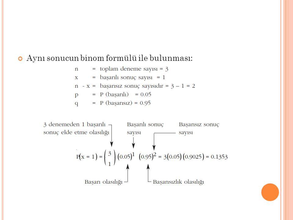 Aynı sonucun binom formülü ile bulunması: