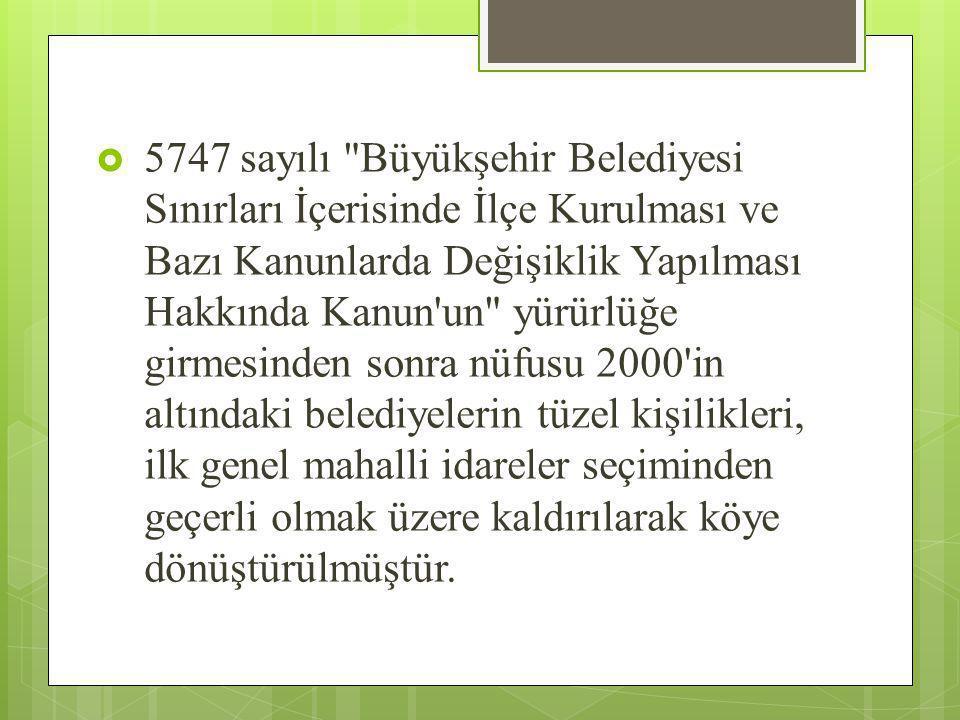  5747 sayılı Büyükşehir Belediyesi Sınırları İçerisinde İlçe Kurulması ve Bazı Kanunlarda Değişiklik Yapılması Hakkında Kanun un yürürlüğe girmesinden sonra nüfusu 2000 in altındaki belediyelerin tüzel kişilikleri, ilk genel mahalli idareler seçiminden geçerli olmak üzere kaldırılarak köye dönüştürülmüştür.