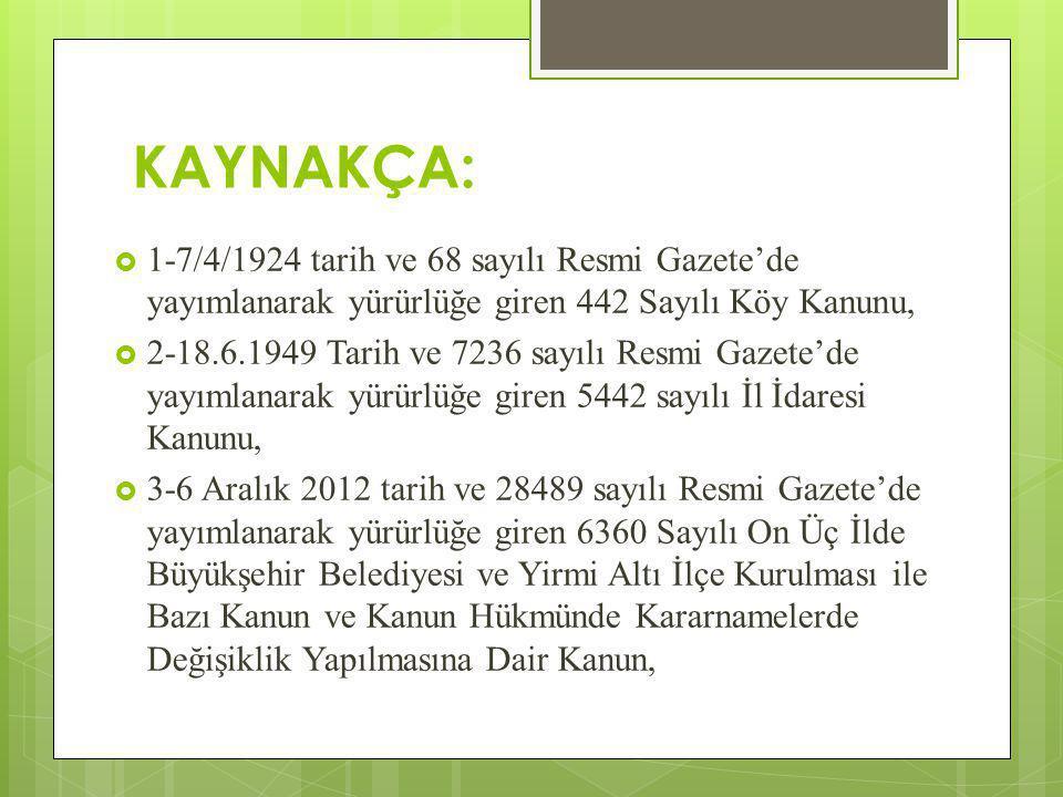 KAYNAKÇA:  1-7/4/1924 tarih ve 68 sayılı Resmi Gazete'de yayımlanarak yürürlüğe giren 442 Sayılı Köy Kanunu,  2-18.6.1949 Tarih ve 7236 sayılı Resmi Gazete'de yayımlanarak yürürlüğe giren 5442 sayılı İl İdaresi Kanunu,  3-6 Aralık 2012 tarih ve 28489 sayılı Resmi Gazete'de yayımlanarak yürürlüğe giren 6360 Sayılı On Üç İlde Büyükşehir Belediyesi ve Yirmi Altı İlçe Kurulması ile Bazı Kanun ve Kanun Hükmünde Kararnamelerde Değişiklik Yapılmasına Dair Kanun,