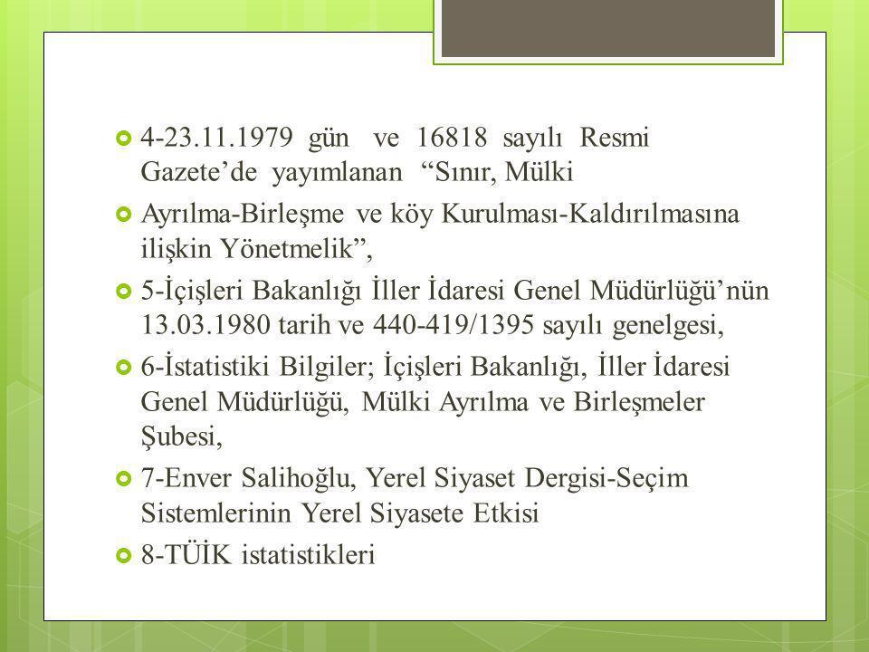 """ 4-23.11.1979 gün ve 16818 sayılı Resmi Gazete'de yayımlanan """"Sınır, Mülki  Ayrılma-Birleşme ve köy Kurulması-Kaldırılmasına ilişkin Yönetmelik"""", """