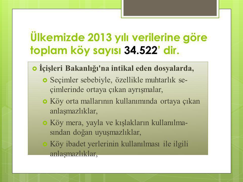 Ülkemizde 2013 yılı verilerine göre toplam köy sayısı 34.522' dir.