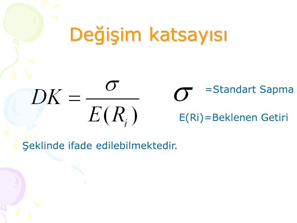 Değişim katsayısı =Standart Sapma E(Ri)=Beklenen Getiri Şeklinde ifade edilebilmektedir.