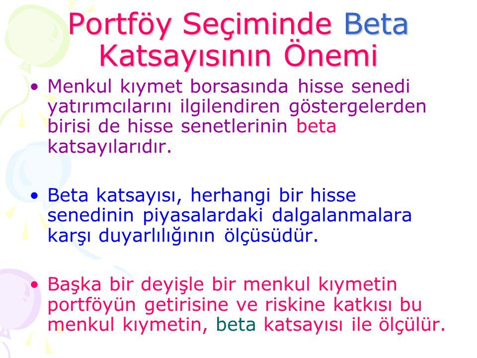 Portföy Seçiminde Beta Katsayısının Önemi •Menkul kıymet borsasında hisse senedi yatırımcılarını ilgilendiren göstergelerden birisi de hisse senetleri