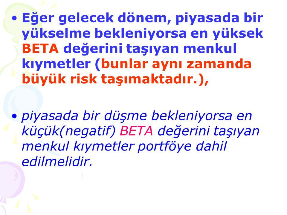 •Eğer gelecek dönem, piyasada bir yükselme bekleniyorsa en yüksek BETA değerini taşıyan menkul kıymetler (bunlar aynı zamanda büyük risk taşımaktadır.