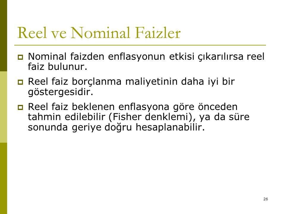 26 Reel ve Nominal Faizler  Nominal faizden enflasyonun etkisi çıkarılırsa reel faiz bulunur.  Reel faiz borçlanma maliyetinin daha iyi bir gösterge