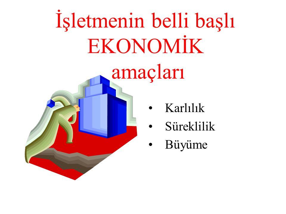 İşletmenin belli başlı EKONOMİK amaçları •Karlılık •Süreklilik •Büyüme