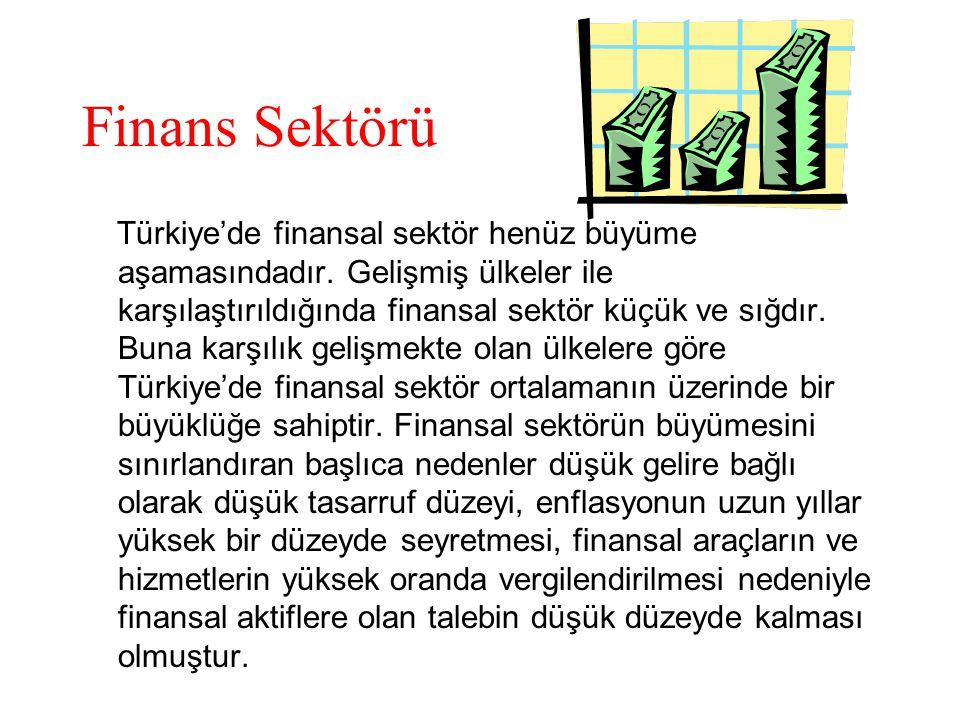 Finans Sektörü Türkiye'de finansal sektör henüz büyüme aşamasındadır.