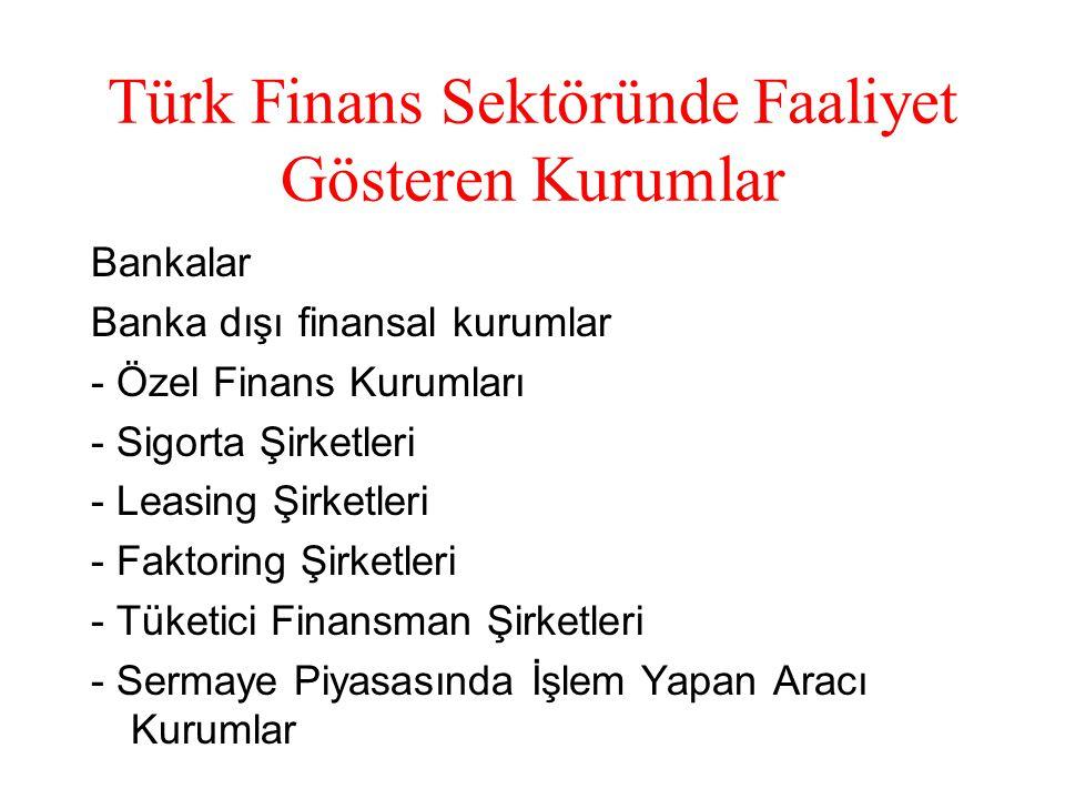Türk Finans Sektöründe Faaliyet Gösteren Kurumlar Bankalar Banka dışı finansal kurumlar - Özel Finans Kurumları - Sigorta Şirketleri - Leasing Şirketleri - Faktoring Şirketleri - Tüketici Finansman Şirketleri - Sermaye Piyasasında İşlem Yapan Aracı Kurumlar