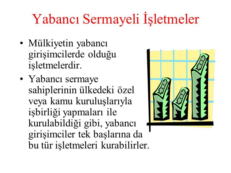 Yabancı Sermayeli İşletmeler •Mülkiyetin yabancı girişimcilerde olduğu işletmelerdir.