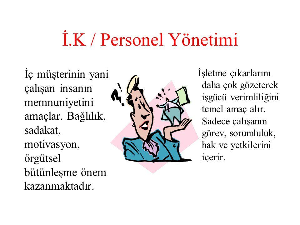 İ.K / Personel Yönetimi İç müşterinin yani çalışan insanın memnuniyetini amaçlar.