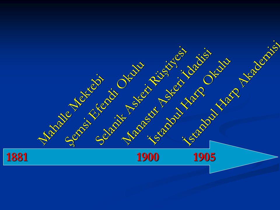 Mahalle Mektebi Şemsi Efendi Okulu Selanik Askeri Rüştiyesi 1881 1900 1905 Manastır Askeri İdadisi İstanbul Harp Okulu İstanbul Harp Akademisi
